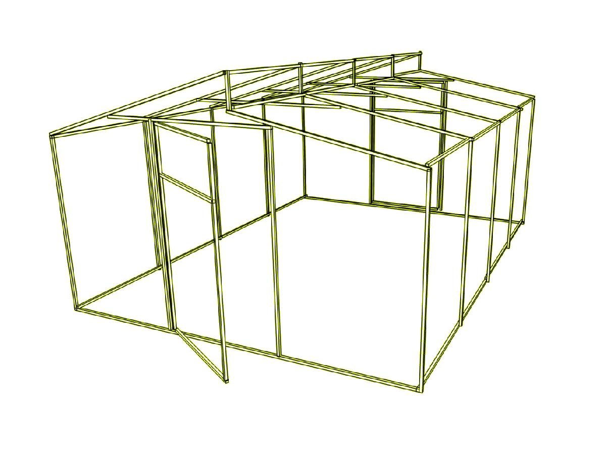 Доп. секция на каркас  теплицы Митлайдера (без поликарбоната) 400x200x235см